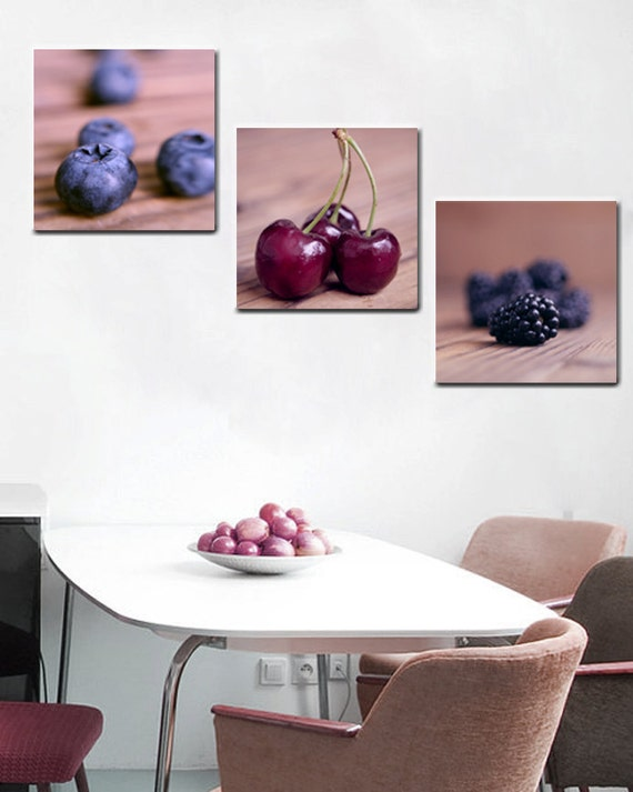 dining room wall art food canvas art set berry cherry fruit