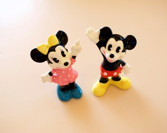 "Mickey & Minnie Mouse Ceramic Figurines Set Walt Disney Productions Japan 4"""