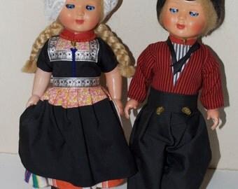 "Large Dutch Doll Pair Couple 15"""