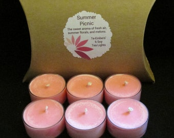 Summer Picnic Scented 6 Pack Soy Tea Lights