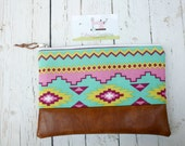 SALE Clutch Bag/Tribal Aztec Women's Clutch Purse/Faux Leather/Pink/Ready to Ship