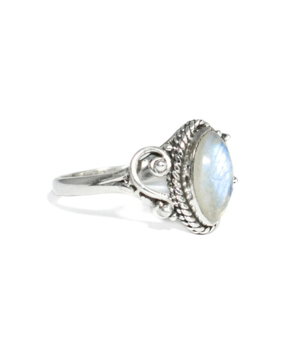 Rainbow Moonstone Sterling Silver Ring AURORA 925 by ...