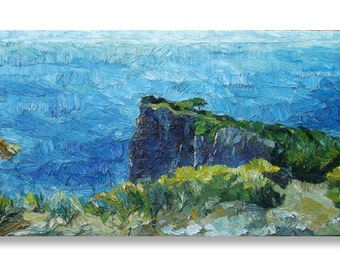 Cape Oil Painting, seascape textured painting on deep edge stretched canvas ready to hang