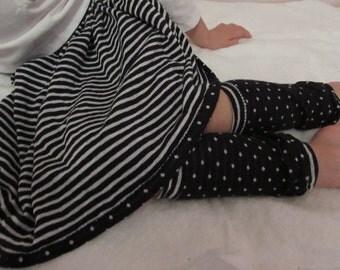 Knit skirt/girls knit skirt/reversible skirt/black skirt/knit black skirt/toddler skirt/junior skirt/black polka dot skirt/stripe skirt