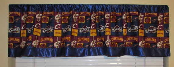 Cavaliers satin edge curtains/cotton valance/navy satin edge