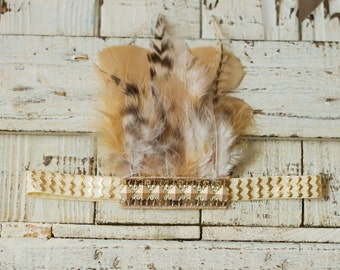 Gold and Cream Feather Headband, Indie Headdress, Feather Crown