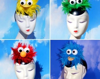 Costume Fascinators Group Discount - Big Bird, Cookie Monster, Elmo, Oscar the Grouch - Inspired by Sesame Street