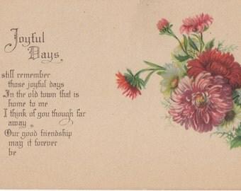 """Blank Vintage """"Joyful Days"""" Postcard"""