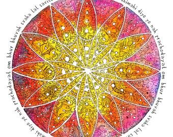 Gayatri Mantra Illumination Mandala, Zen living, India, Spiritual Art