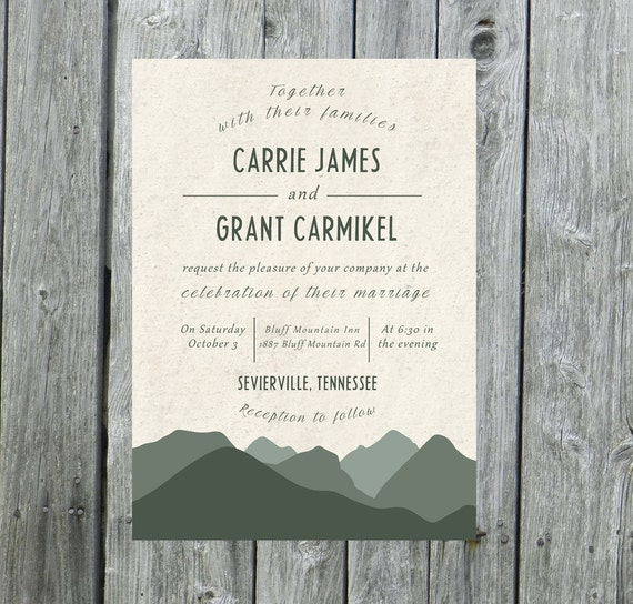 Outdoor Wedding Invitation Wording: Mountain Wedding Invitation Mountain Wedding By LilyMothDesign