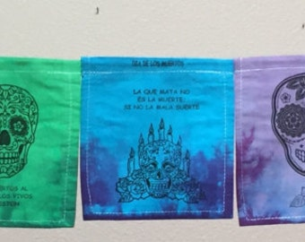 Dia de los Muertos Prayer Flags, All Proceeds to Families in Mexico. Free Domestic Shipping. (3+ items 10% off.)
