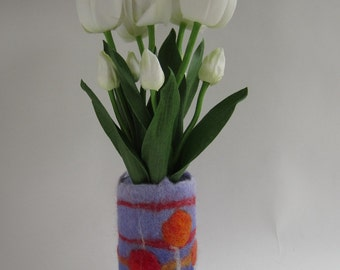 "Hand made, wet felted ""Setting Suns"" flower vase made from Norwegian C1 wool with a recycled glass insert"