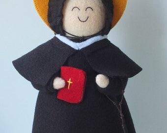 Saint Elizabeth Ann Seton Felt Saint Doll Catholic Religious Doll
