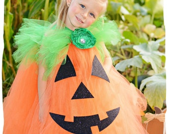 Pumpkin Tutu Dress, Jack O Lantern Dress, Infant Toddler Pumpkin Costume, Baby Halloween Costume, Pumpkin Costume