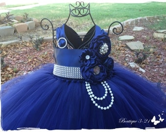 Navy Blue Flower Girl Dress, Navy Blue tutu dress, Navy Blue Flower Girl Tutu Dress, Blue Flower Girl Dress, Blue Tutu Dress