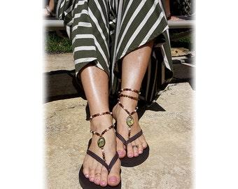 Boho Foot Jewelry • Barefoot Jewelry • Footless Sandal • Beach Sandals • Tropical Jewelry • Gypsy Gift • Soleless Sandal