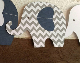 10 ft Navy, White, and Gray Chevron Elephant Garland for your perfect Baby Shower or Birthday Party!!!!!