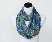 Infinity scarf paisley blue teal traditional loop scarf soft jersey knit circle scarf feminine snood scarf gift for her