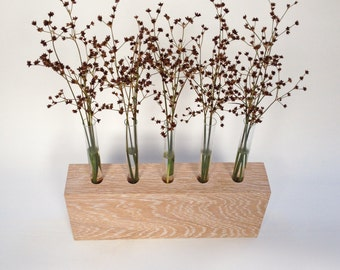 Limed oak wooden bud vase with glass test tubes
