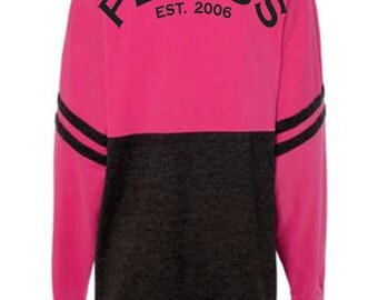 CLOSEOUT SALE - Apply Coupon Code SAVE20 to Save 20% on NEW Plexus Ladies Established in 2006 Fuschia Charcoal Long Sleeve Game Day Shirt