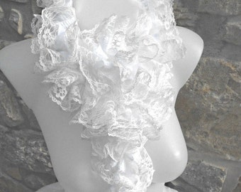 White scarf with lacef/Lace frilly scarf/Chic white scarf/made in France/DIY/spring and summer scarf/gift for women