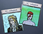 """David Bowie Tribute Magnets, Jareth & Ziggy Stardust, Designed by Amber Petersen. 3x3"""" Originals in Acrylic. Labyrinth. Rest In Peace, David"""
