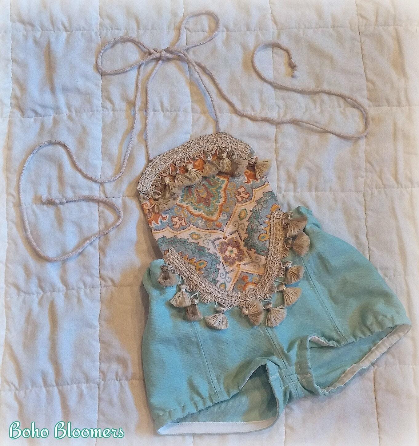 Baby Romper Baby Girl Clothing Teal Romper Playsuit Birthday