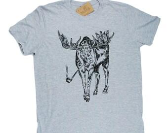 Mens TShirt - Pipe Smoking Moose TShirt - Forest Animal T Shirt - Cool T Shirts - Mens Funny T Shirt - Mens Funny Tees - Boyfriend Tshirts