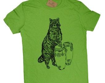 Mens Funny Tshirt - T Shirts for Men - Boyfriend Tshirt - Mens Gift - Green Tees - Graphical TShirt - Screen Print Tees - Raccoon TShirt