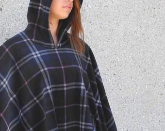 Hooded hygge poncho, fleece poncho with hood, plaid poncho, navy blue plaid poncho for women