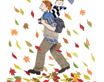 WINDY WALK, A dad and his little boy midst swirling leaves.Perfect card to give any Father with a son .Printed card from original collage.
