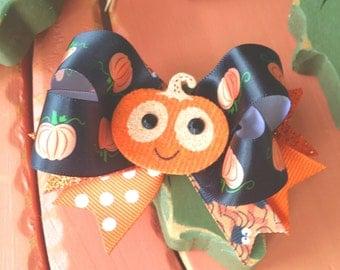 Pumpkin Hair Bow, Halloween Hair Bow, Orange and Black Pumpkin Bow Clip