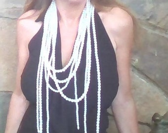 FREE SHIPPING!! Beadwork pearls necklace,,bib necklace,statement necklace,Multi strands pearl necklace,Beaded Jewelry, White