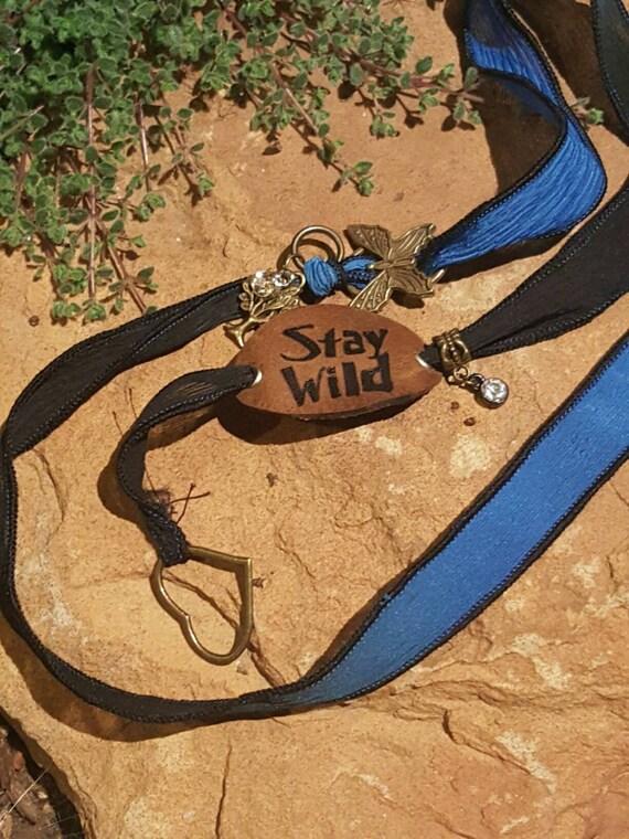 Stay Wild - Silk Wrap Bracelet with LEATHER Charm