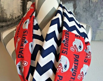 Chevron Infinity Scarf Made with Red New England Patriots Licensed Fabric