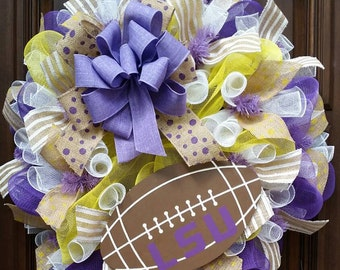 LSU Wreath, LSU Tiggers, Fall Wreath, Football Wreath