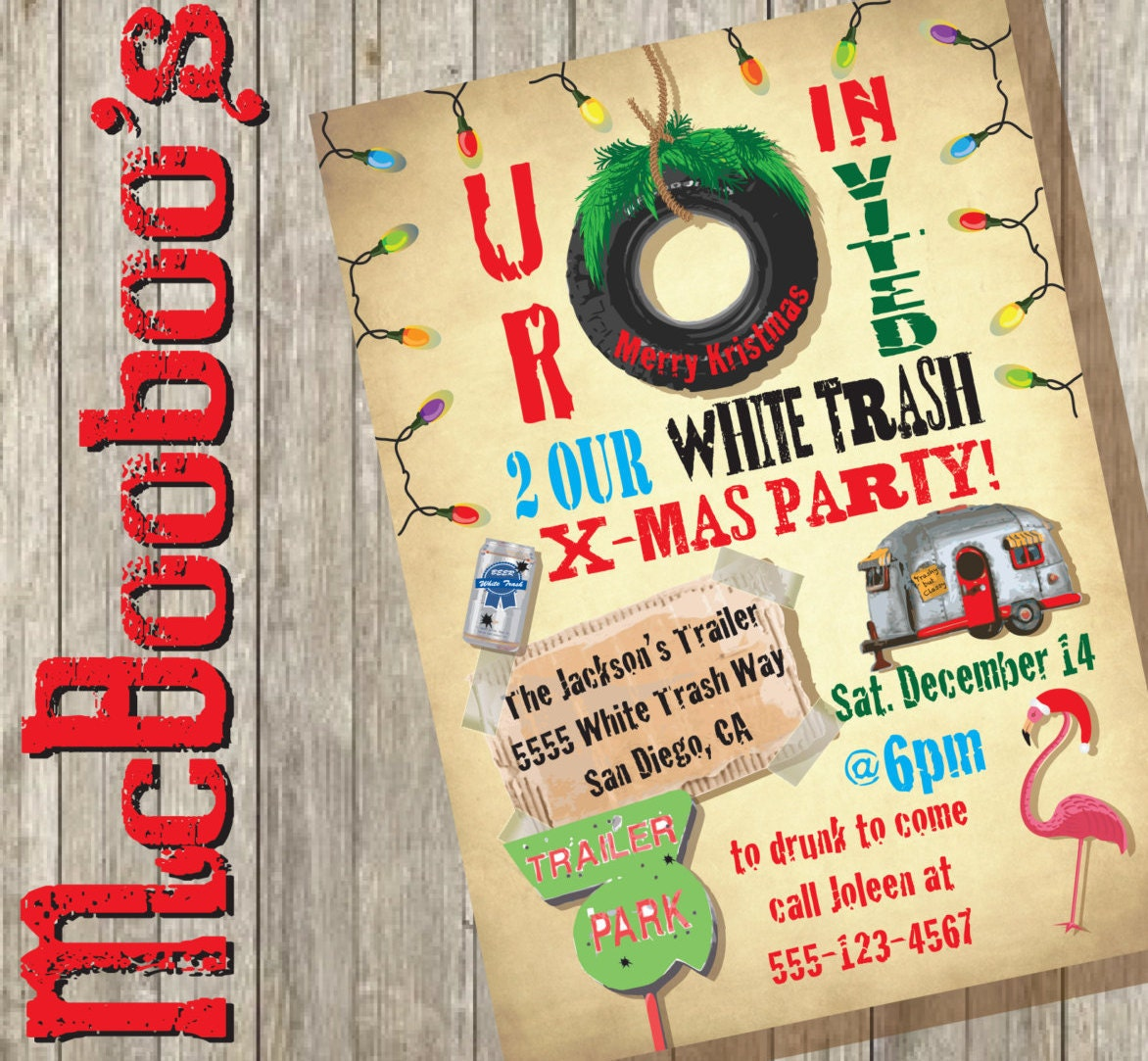 White Trailer Trash Christmas Party Invitations – Trailer Trash Party Invitations