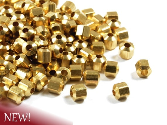 Hexagon Brass Beads, Hexagon Faceted Spacer Beads, Metal Beads, 4mm with 1.5mm Hole in raw brass  - 25 pcs/ pkg