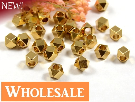 5mm Faceted Spacer Bead WHOLESALE , Diamond Cut Bead, Large Hole Metal Spacer Bead, Raw Brass Bead - 100 PCS