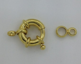 Clasp 16mm  Spring Ring Clasp  5 Pieces   Gold Tone