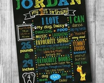 First Birthday Chalkboard Poster - Girl or Boy - Customized 1st Birthday Chalk board - Custom Printable Sign - Giraffe - Green Blue Yellow
