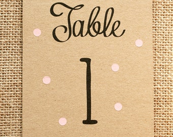 Pastel Polka Dot Table Number Card