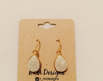 14kt matte gold filled druzy teardrop earrings