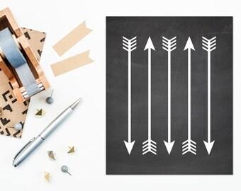 Arrow Print, Chalkboard Arrow Printable, 8x10 Printable Art, Chalkboard Nursery Art, Arrow Nursery Art, Tribal Print, Black and White