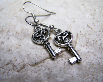 Mini Key Earring, Silver Charm Key Earring, Simple Everyday Earring, Gift under 10 by aeccentricsol