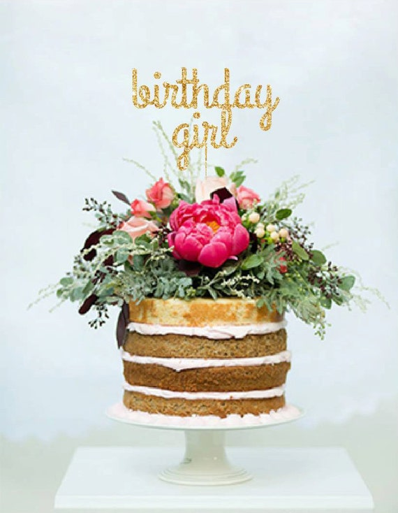 birthday girl gold glitter cake topper