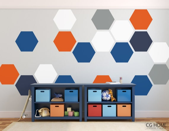 pattern HEXAGON geometric COLORS honeycomb WALL decal vinyl at home sticker