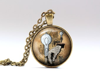 Lamp necklace Steampunk pendant Industrial jewelry SNW13