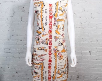 1960s rare novelty print Dress linen Pioneer USA theme Last Frontier geography western native american L