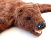 Miniature dollhouse bear rug-Handmade-Open mouth